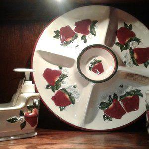 3 Pc Divided Platter Soap Dispenser & Cup Apples